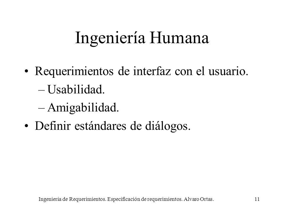 Ingeniería Humana Requerimientos de interfaz con el usuario.