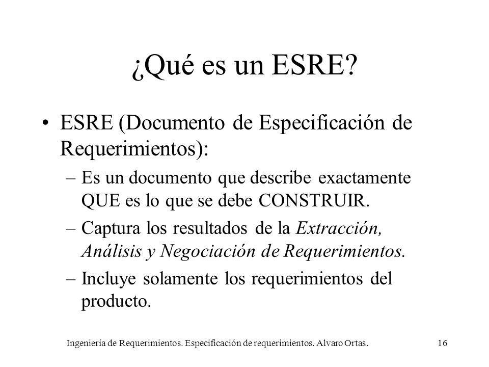 ¿Qué es un ESRE ESRE (Documento de Especificación de Requerimientos):
