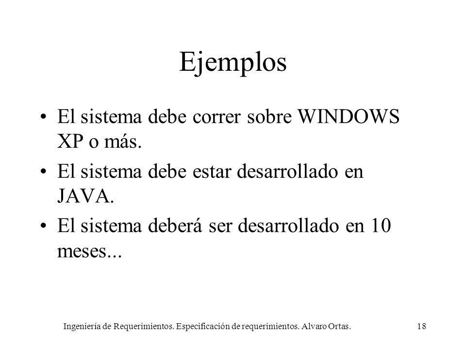 Ejemplos El sistema debe correr sobre WINDOWS XP o más.