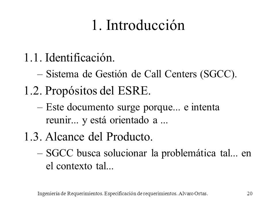 1. Introducción 1.1. Identificación. 1.2. Propósitos del ESRE.