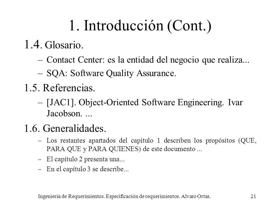 1. Introducción (Cont.) 1.4. Glosario. 1.5. Referencias.