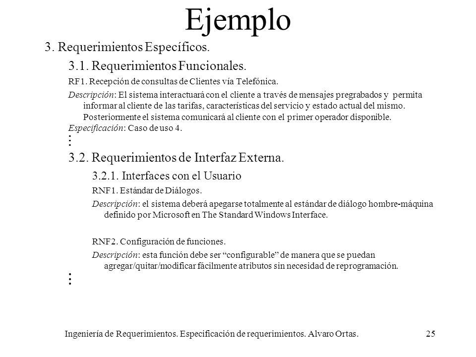 Ejemplo 3. Requerimientos Específicos.