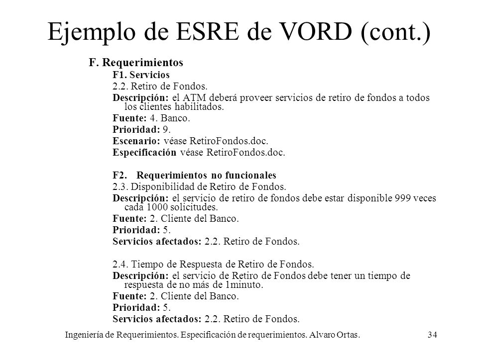 Ejemplo de ESRE de VORD (cont.)