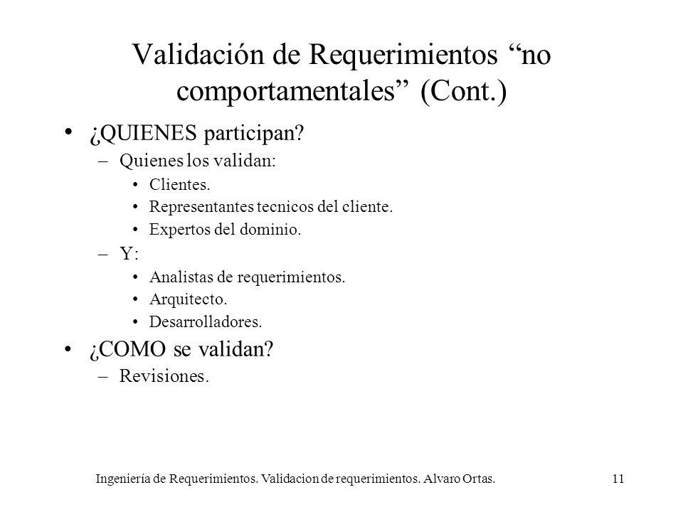 Validación de Requerimientos no comportamentales (Cont.)