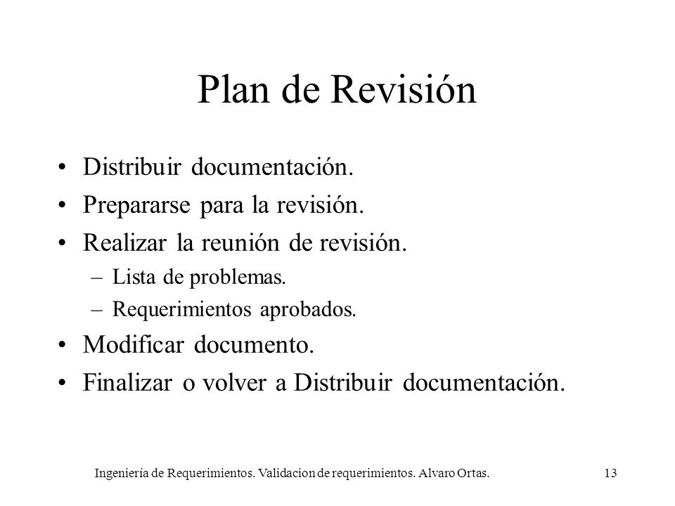 Plan de Revisión Distribuir documentación.