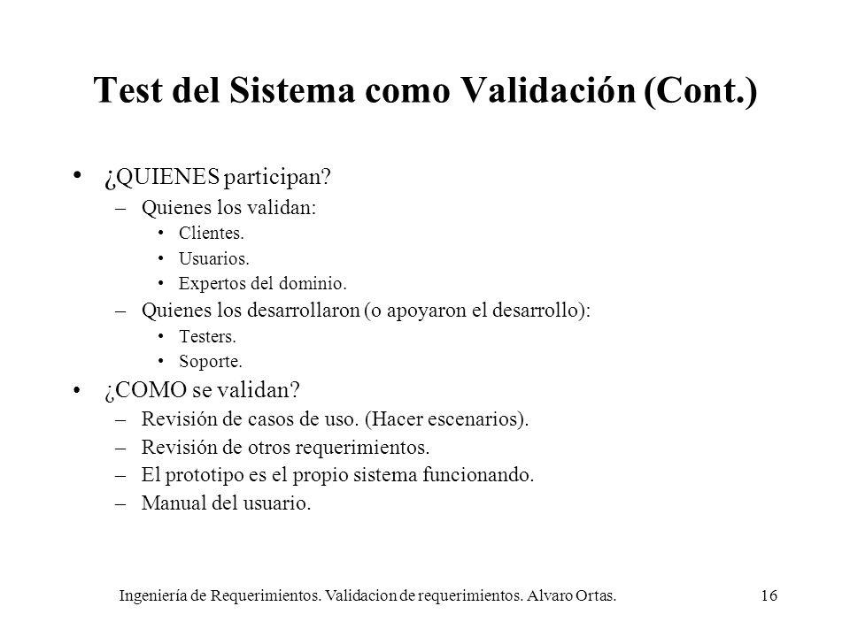 Test del Sistema como Validación (Cont.)