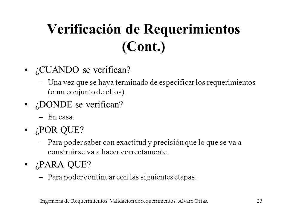 Verificación de Requerimientos (Cont.)