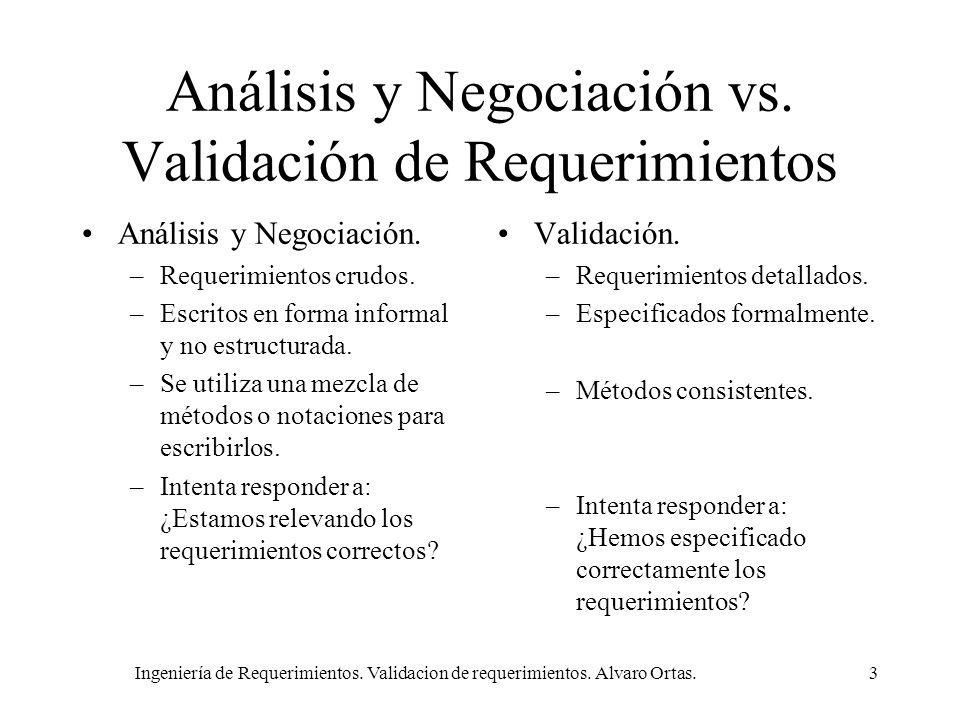 Análisis y Negociación vs. Validación de Requerimientos