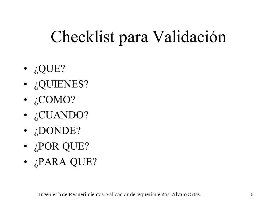 Checklist para Validación