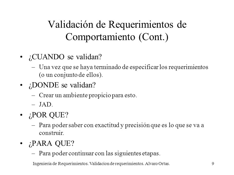 Validación de Requerimientos de Comportamiento (Cont.)