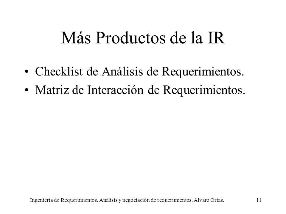 Más Productos de la IR Checklist de Análisis de Requerimientos.