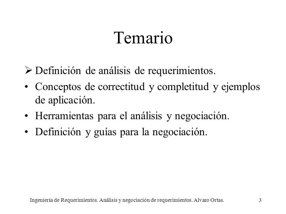 Temario Definición de análisis de requerimientos.