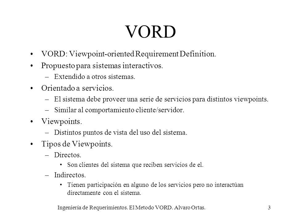 Ingeniería de Requerimientos. El Metodo VORD. Alvaro Ortas.