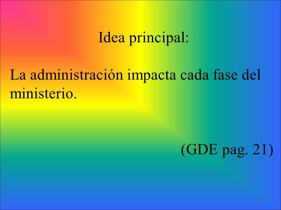 Idea principal: La administración impacta cada fase del ministerio. (GDE pag. 21)