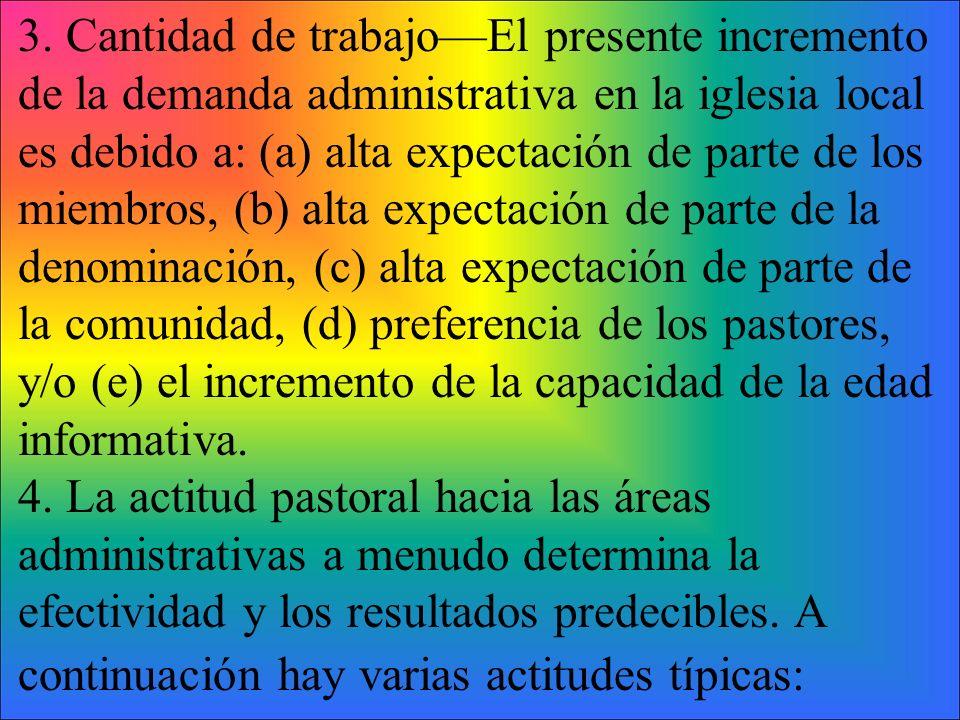 3. Cantidad de trabajo—El presente incremento de la demanda administrativa en la iglesia local es debido a: (a) alta expectación de parte de los miembros, (b) alta expectación de parte de la denominación, (c) alta expectación de parte de la comunidad, (d) preferencia de los pastores, y/o (e) el incremento de la capacidad de la edad informativa.