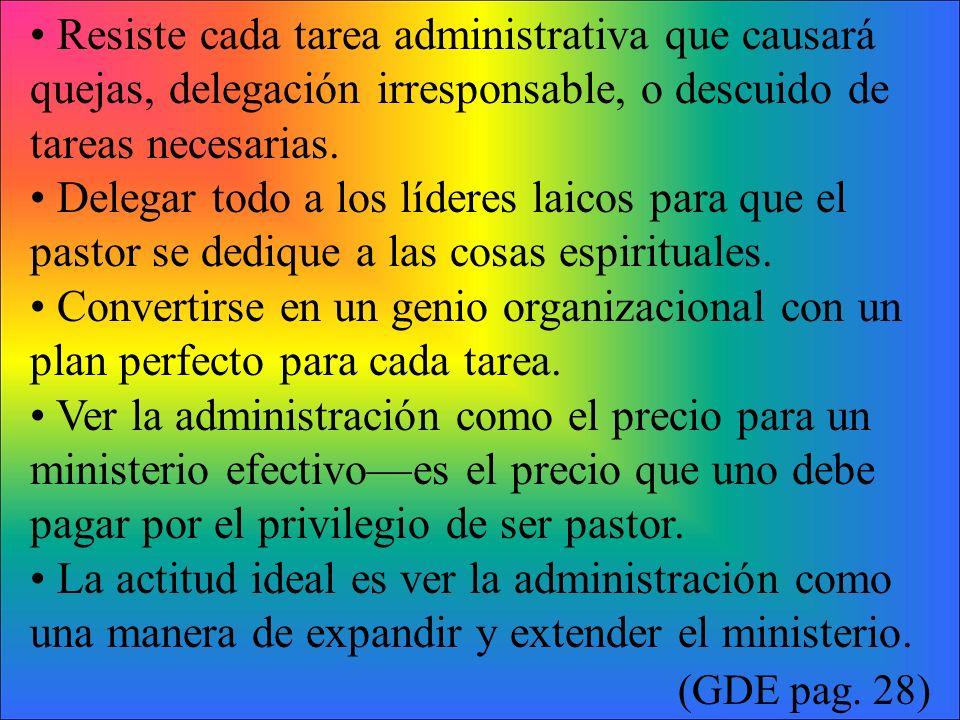 • Resiste cada tarea administrativa que causará quejas, delegación irresponsable, o descuido de tareas necesarias.