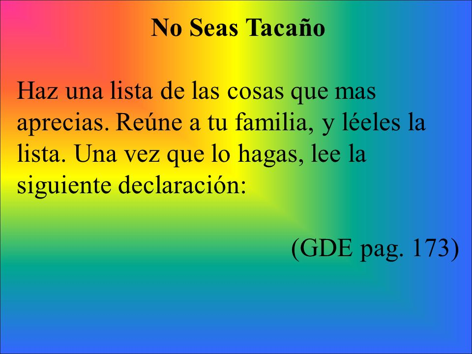 No Seas Tacaño
