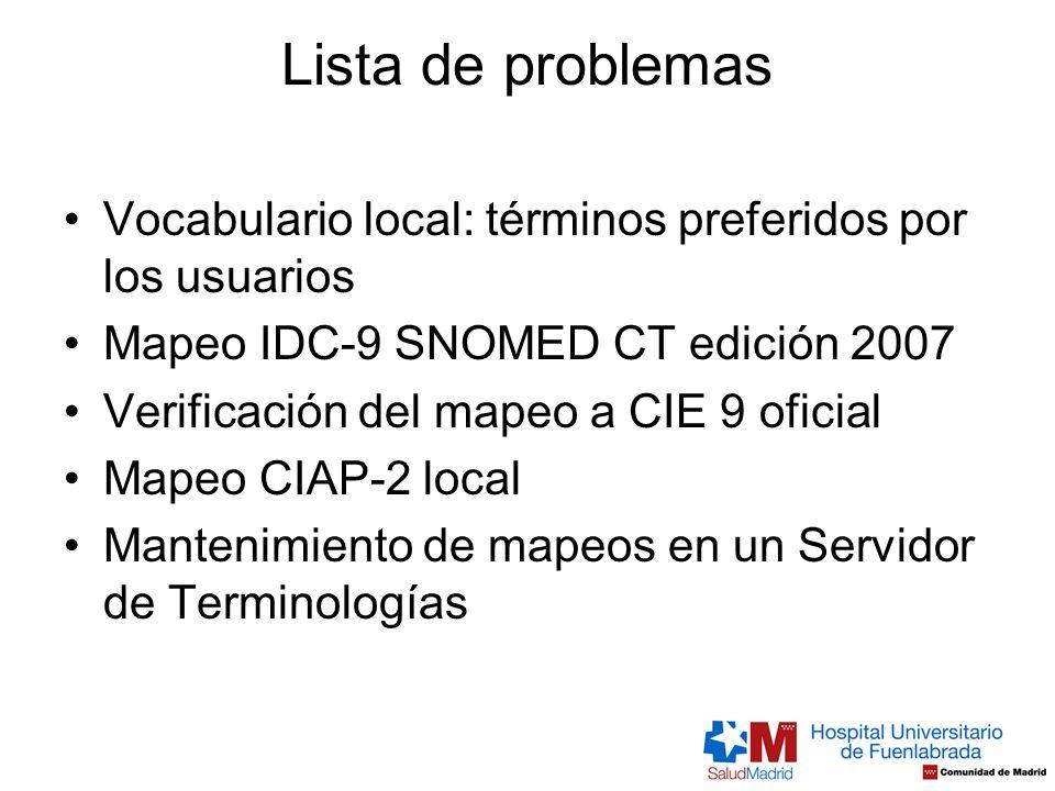 Lista de problemas Vocabulario local: términos preferidos por los usuarios. Mapeo IDC-9 SNOMED CT edición 2007.