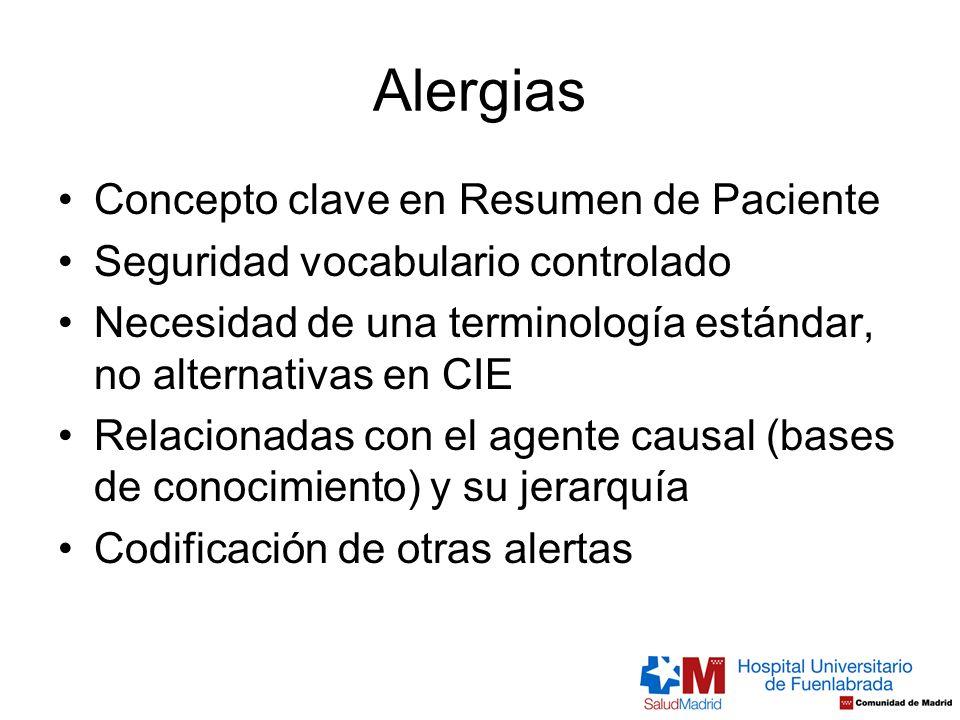 Alergias Concepto clave en Resumen de Paciente