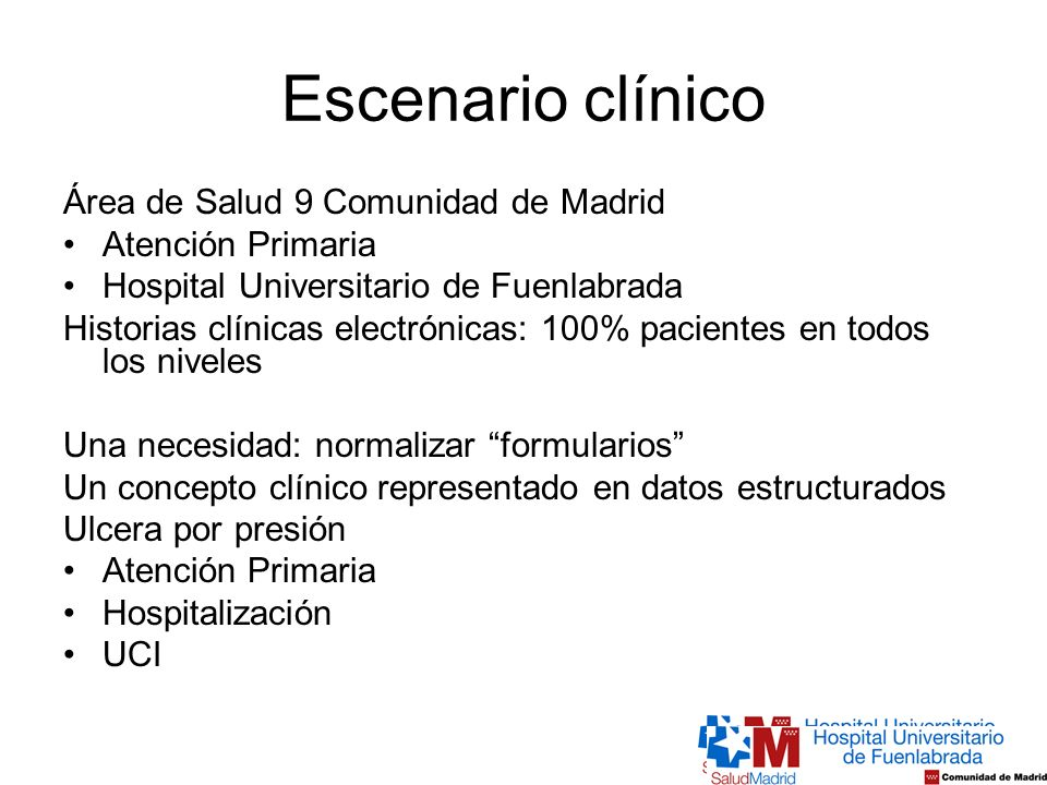 Escenario clínico Área de Salud 9 Comunidad de Madrid