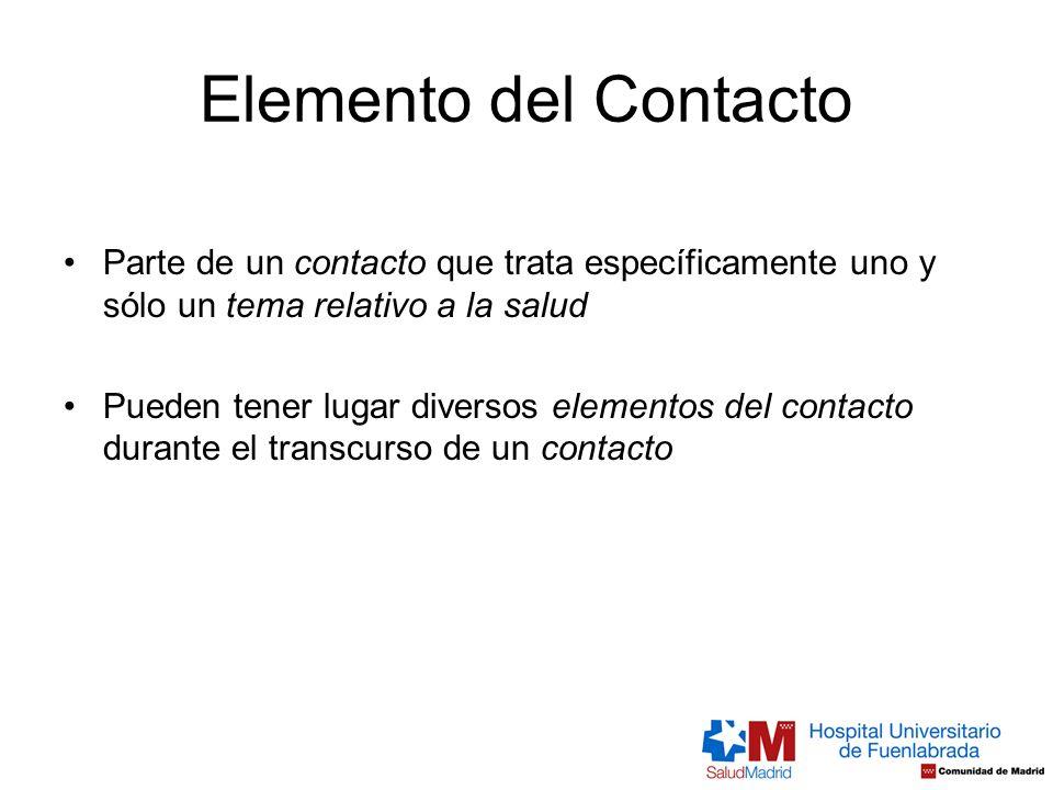 Elemento del Contacto Parte de un contacto que trata específicamente uno y sólo un tema relativo a la salud.