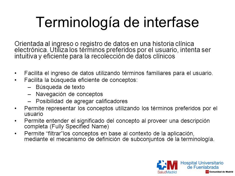 Terminología de interfase