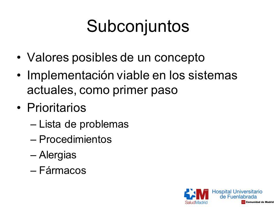 Subconjuntos Valores posibles de un concepto