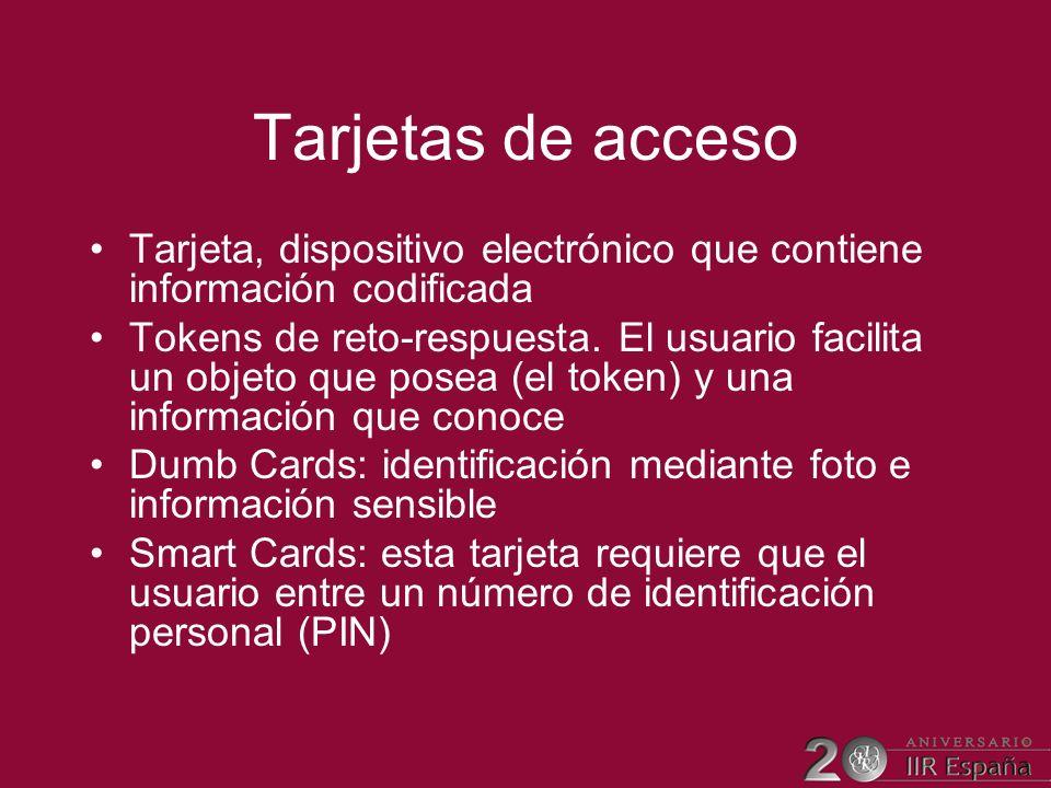 Tarjetas de acceso Tarjeta, dispositivo electrónico que contiene información codificada.