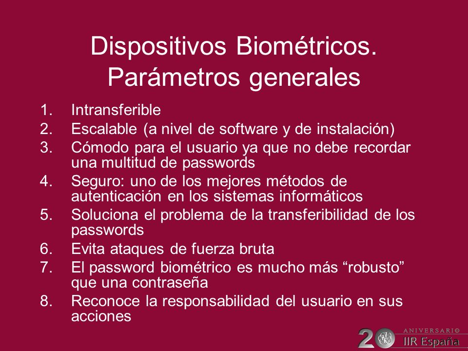 Dispositivos Biométricos. Parámetros generales