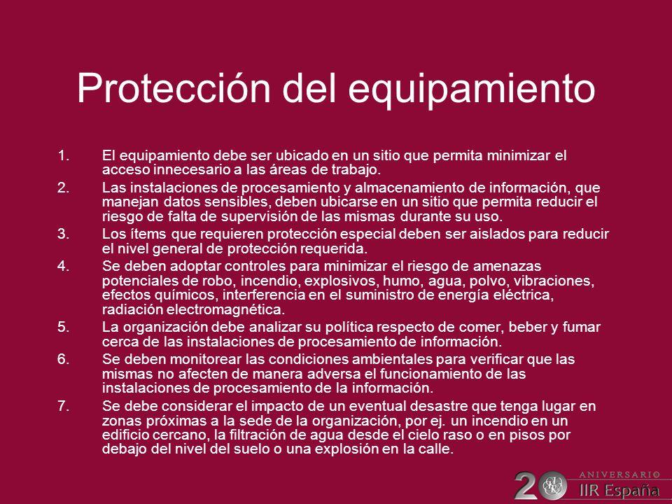 Protección del equipamiento