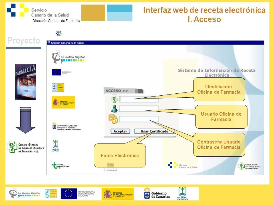 Proyecto Interfaz web de receta electrónica I. Acceso