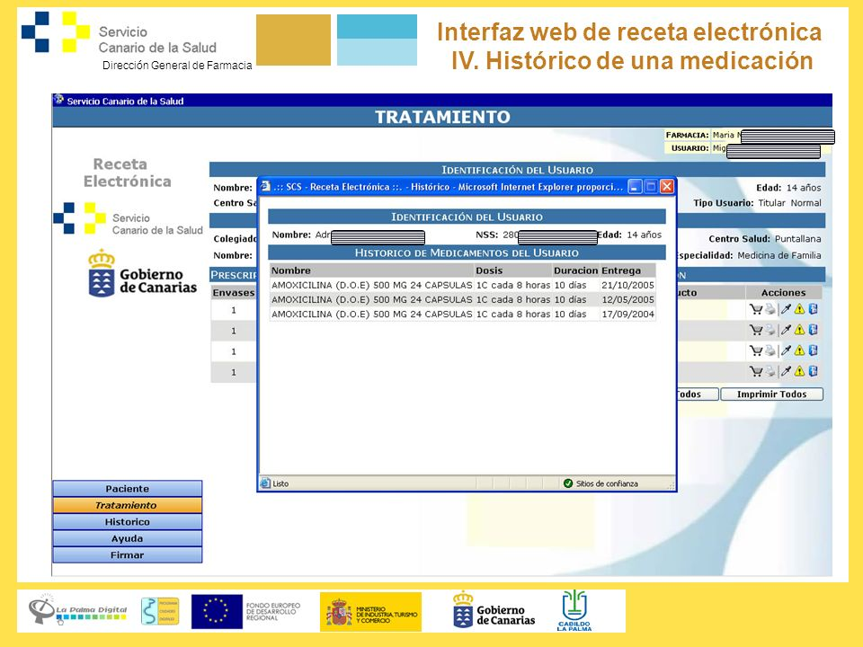 Interfaz web de receta electrónica IV. Histórico de una medicación