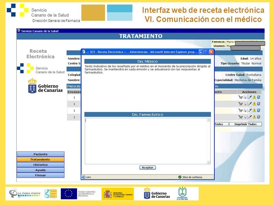 Interfaz web de receta electrónica VI. Comunicación con el médico