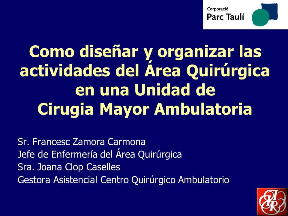 Como diseñar y organizar las actividades del Área Quirúrgica en una Unidad de Cirugia Mayor Ambulatoria