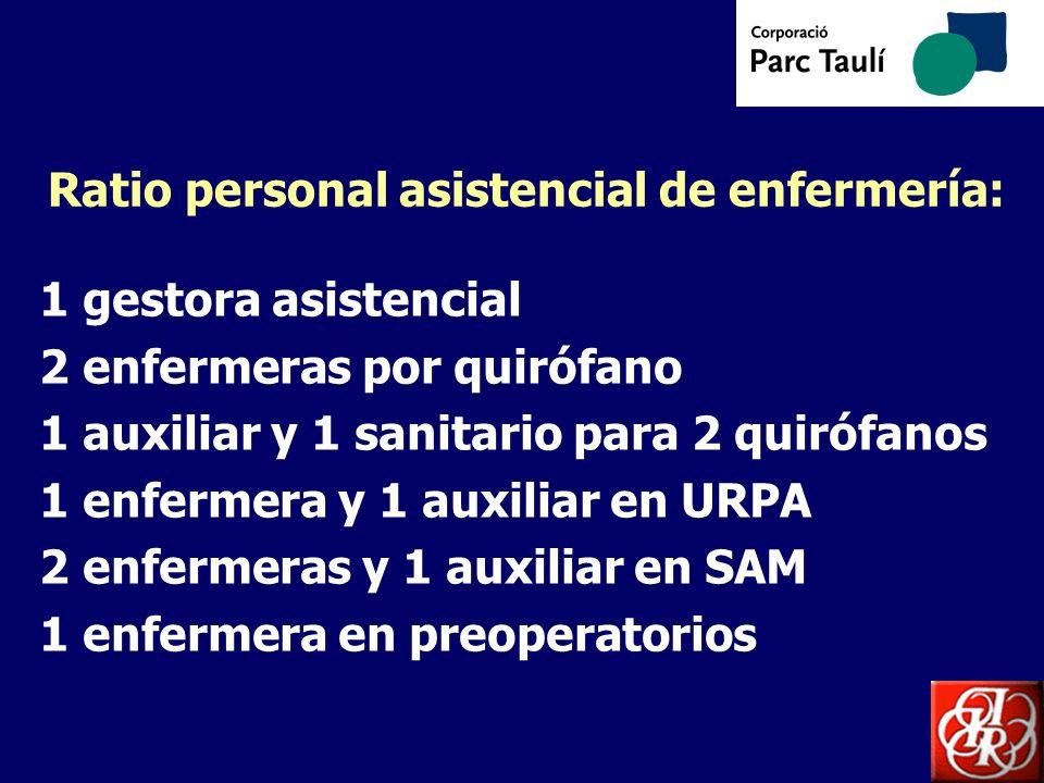 Ratio personal asistencial de enfermería: