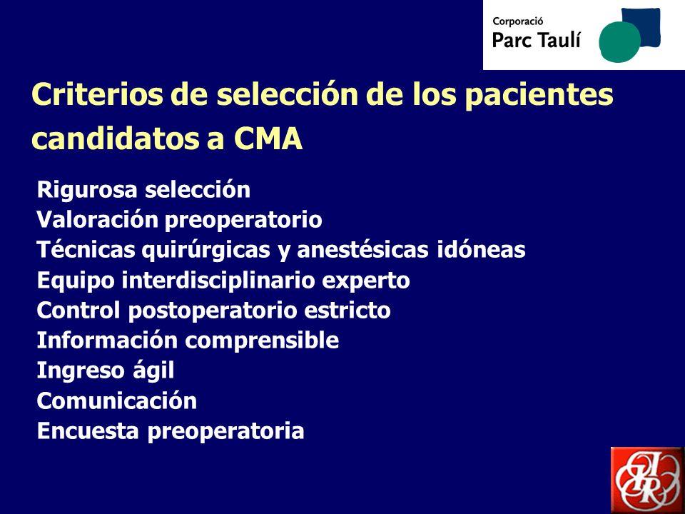 Criterios de selección de los pacientes candidatos a CMA