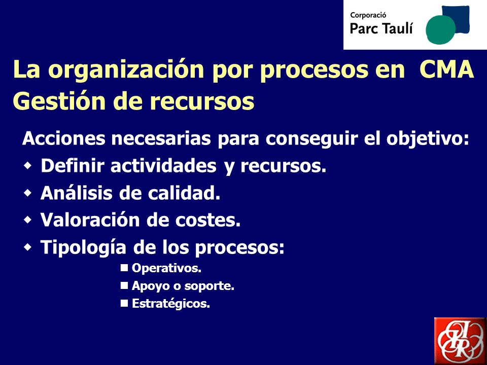La organización por procesos en CMA Gestión de recursos