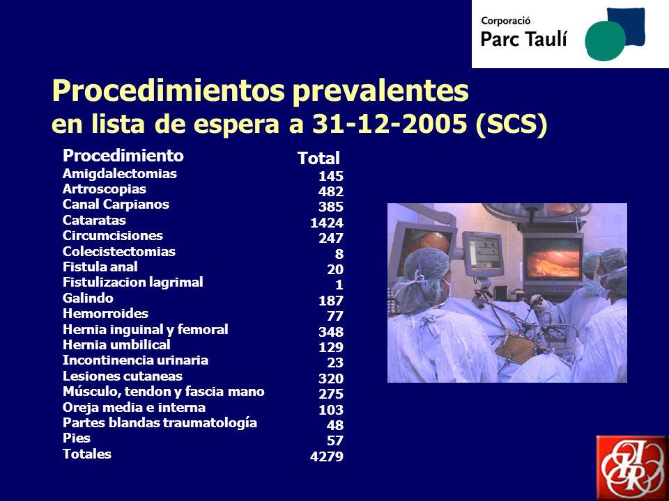 Procedimientos prevalentes en lista de espera a 31-12-2005 (SCS)