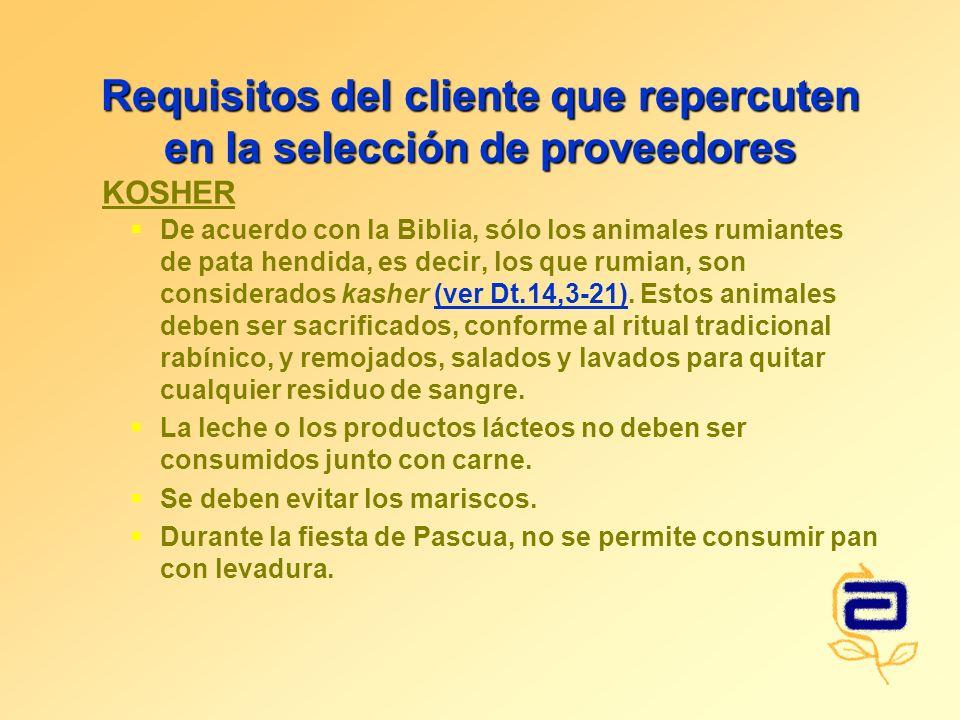 Requisitos del cliente que repercuten en la selección de proveedores