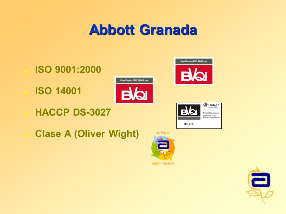Abbott Granada ISO 9001:2000 ISO 14001 HACCP DS-3027