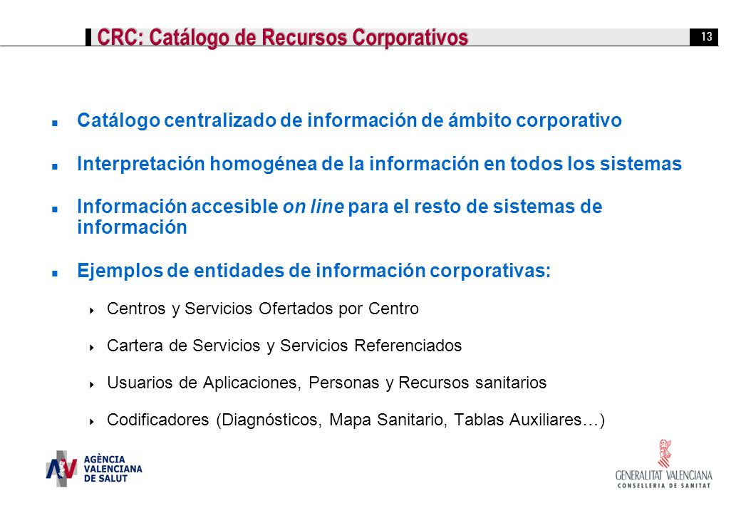 CRC: Catálogo de Recursos Corporativos