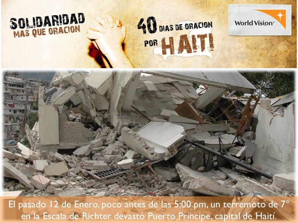 El pasado 12 de Enero, poco antes de las 5:00 pm, un terremoto de 7° en la Escala de Richter devastó Puerto Príncipe, capital de Haití.