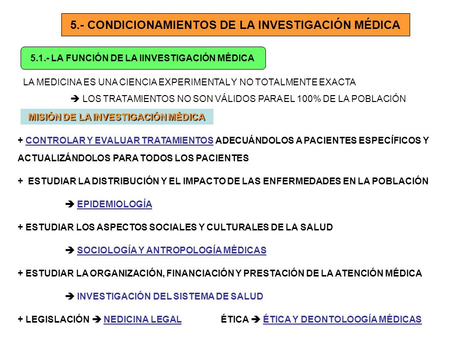 5.- CONDICIONAMIENTOS DE LA INVESTIGACIÓN MÉDICA