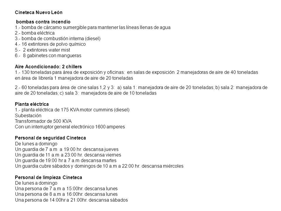 Cineteca Nuevo León bombas contra incendio. 1.- bomba de càrcamo sumergible para mantener las líneas llenas de agua.
