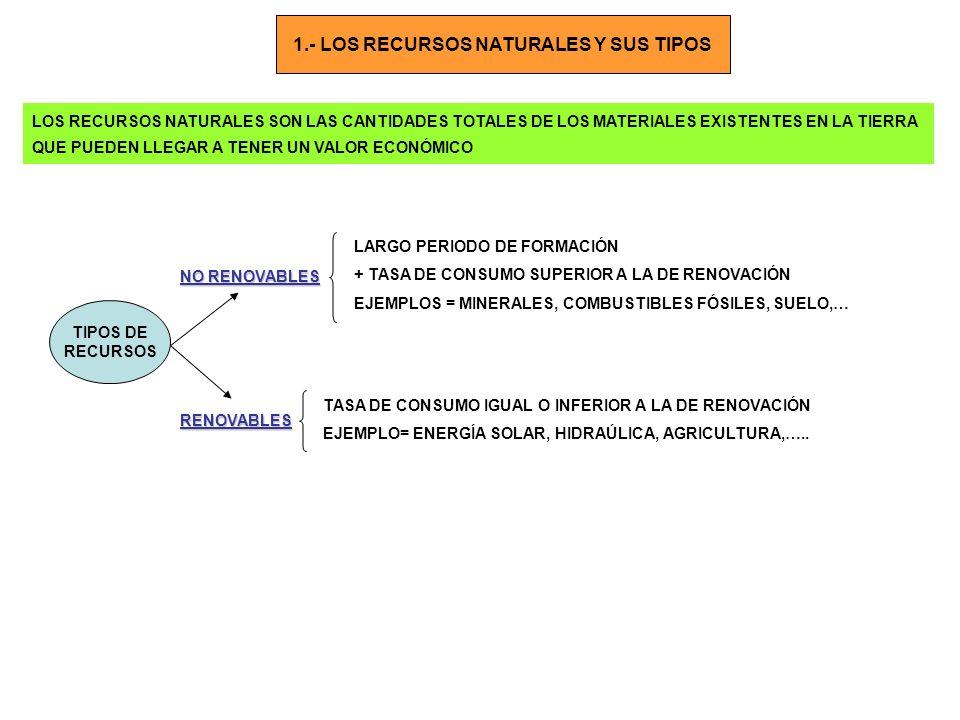 1.- LOS RECURSOS NATURALES Y SUS TIPOS