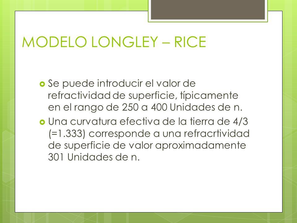MODELO LONGLEY – RICE Se puede introducir el valor de refractividad de superficie, típicamente en el rango de 250 a 400 Unidades de n.