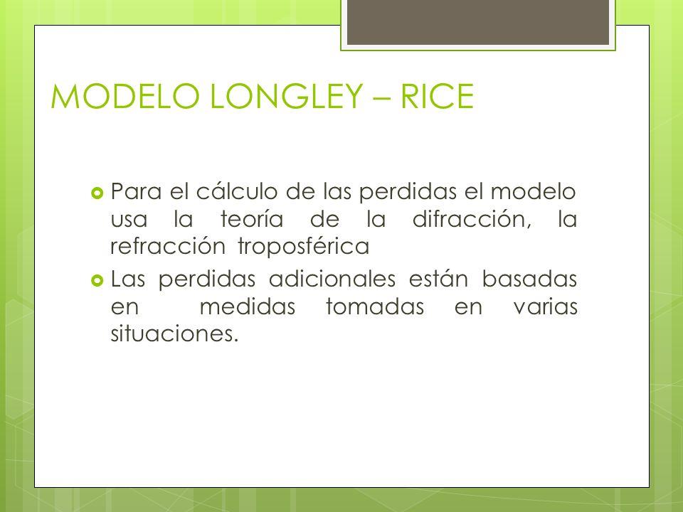 MODELO LONGLEY – RICE Para el cálculo de las perdidas el modelo usa la teoría de la difracción, la refracción troposférica.