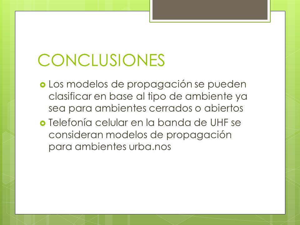 CONCLUSIONES Los modelos de propagación se pueden clasificar en base al tipo de ambiente ya sea para ambientes cerrados o abiertos.