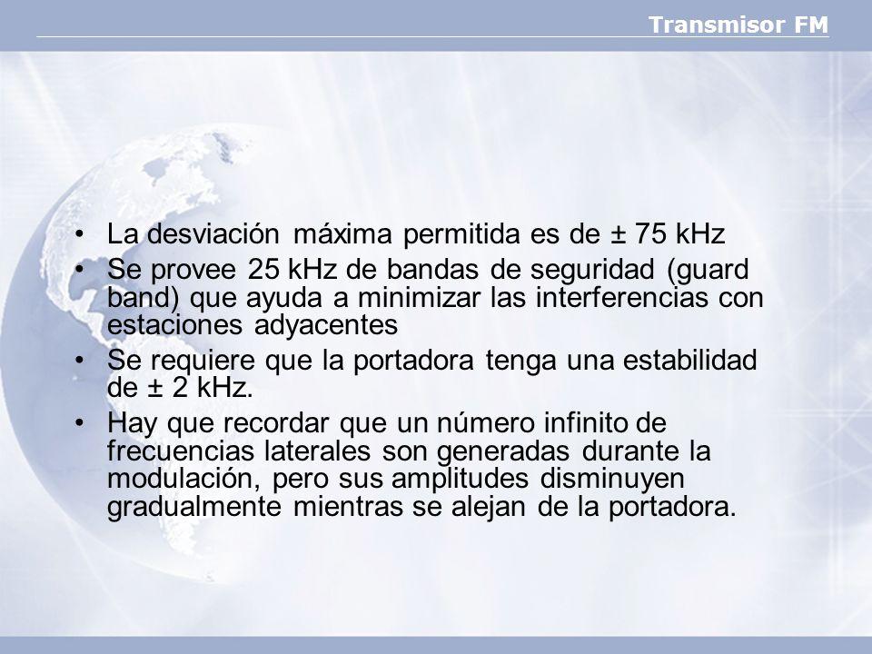 La desviación máxima permitida es de ± 75 kHz