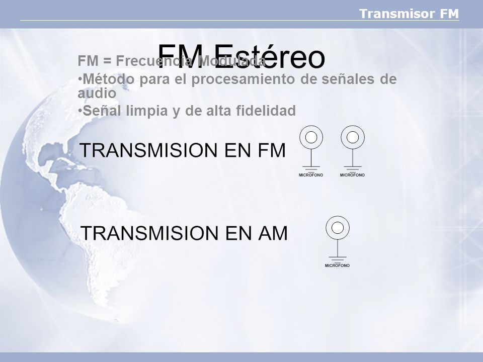 FM Estéreo FM = Frecuencia Modulada